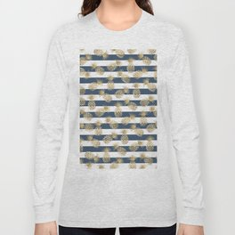 Modern nautical navy blue stripes faux gold pineapple Long Sleeve T-shirt