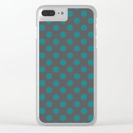 Large Polka Dots in Teal on Charcoal Gray Clear iPhone Case