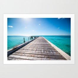 Turks and Caicos beach pier Art Print