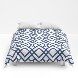 Modern Geometric Diamonds and Circles Pattern Navy Blue and White Comforters