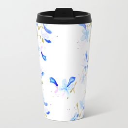 blue butterfly flowers arrangement watercolor Travel Mug