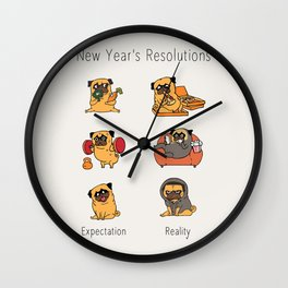 New Years Resolutions with The Pug Wall Clock