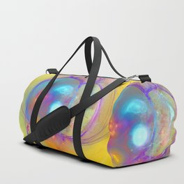 Planetary creation in yellow space Duffle Bag