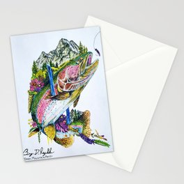 'O. MYKISS MTN.' Rainbow Trout - Original Mountain Art Drawing Stationery Cards