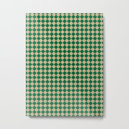 Tan Brown and Cadmium Green Diamonds Metal Print