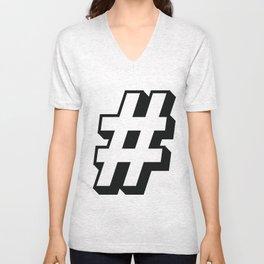Big Hashtag Unisex V-Neck