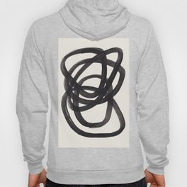 Mid Century Modern Minimalist Abstract Art Brush Strokes Black & White Ink Art Spiral Circles Hoody