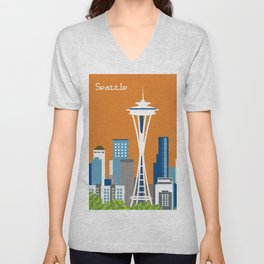 Seattle, Washington - Skyline Illustration by Loose Petals Unisex V-Neck
