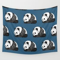 pandas Wall Tapestries featuring Pandas by Diana Hope