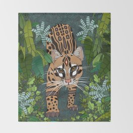 ocelot jungle nightshade Throw Blanket