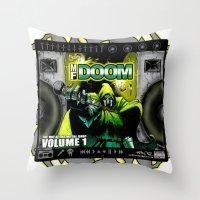 doom Throw Pillows featuring DOOM by D.Armendariz