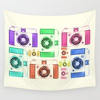 vintage camera Wall Tapestries featuring CAMERA by Laura Maria Designs