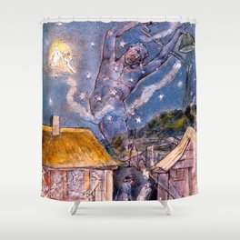 "William Blake ""The Goblin"" Shower Curtain"