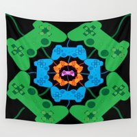 gaming Wall Tapestries featuring Neon Gaming by Keely Durbin