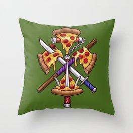 Ninja Pizza Throw Pillow