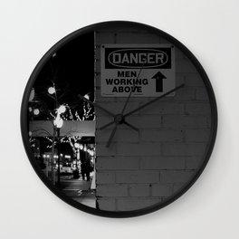 Danger: Men Working Above Wall Clock