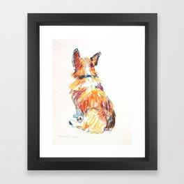 Corgi behind Framed Art Print