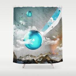 Teal Orbs Shower Curtain