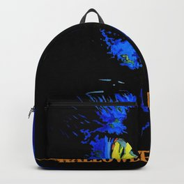 Black Cat Portrait with Happy Halloween Greeting  Backpack