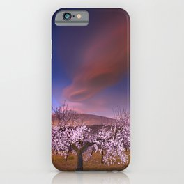 Lenticular clouds over Almond trees iPhone Case
