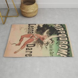 Hippodrome Leona Dare 1883 By Jules Cheret | Reproduction Art Nouveau Rug