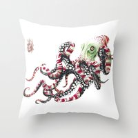 poop Throw Pillows featuring Poop pulpo by Javier Medellin Puyou aka Jilipollo