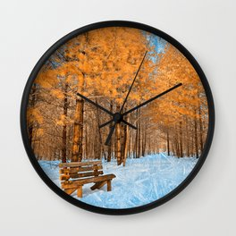 Burning Ice Forest Trail Wall Clock
