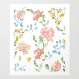 Mustard Floral Pattern Art Print