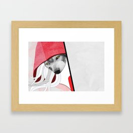 Wolf in little red riding hoods clothes Framed Art Print