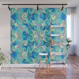 Seamless Wave Spiral Abstract Pattern Wall Mural