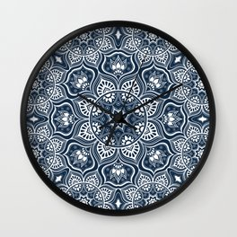 Mandala, Bohemian, Tribal, Ethnic, Navy and White Wall Clock
