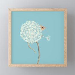Baby Blue Harvest Mouse in Dandelion Framed Mini Art Print