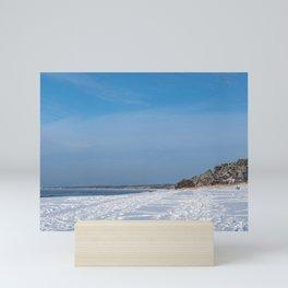 Snow sea coast Mini Art Print