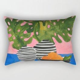 Pink Wall Monstera Rectangular Pillow
