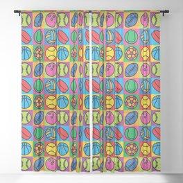 Sport Ball Pop Art Sheer Curtain