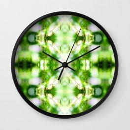 Abstract green nature bokeh background pattern surreal shaped symmetrical kaleidoscope Wall Clock