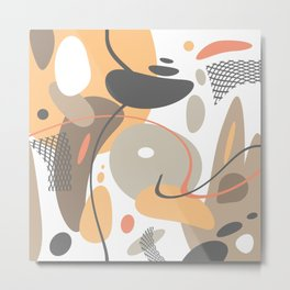 Playful Modern Abstract Shapes And Lines Metal Print