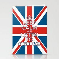 "coldplay Stationery Cards featuring ""Keep Calm and Listen to Coldplay""-Union Jack by Fabfari"
