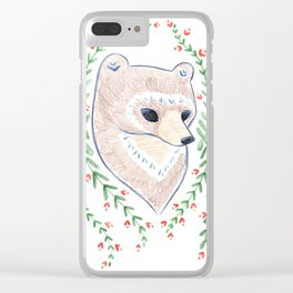 Woodland Bear Clear iPhone Case