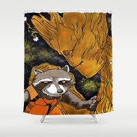 superheros Shower Curtains featuring We are Groot by Tiffany Saffle
