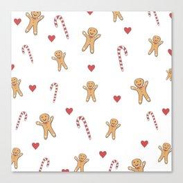 Gingerbread Men & Candy Canes Canvas Print