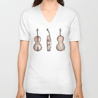 cello V-neck T-shirts featuring Cello by Mike Koubou