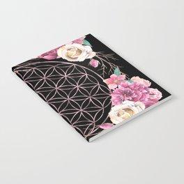 Flower of Life Rose Gold Garden on Black Notebook