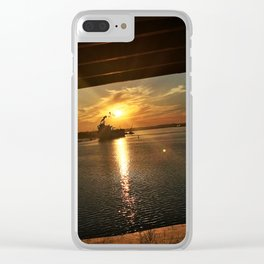 Sunset Behind a Ship in the Fore River by the Casco Bay Bridge Clear iPhone Case