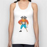 captain hook Tank Tops featuring Captain Hook Pirate Wooden Leg Cartoon by patrimonio
