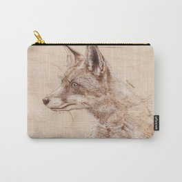 Red Fox Portrait - Drawing by Burning on Wood - Pyrography art Carry-All Pouch