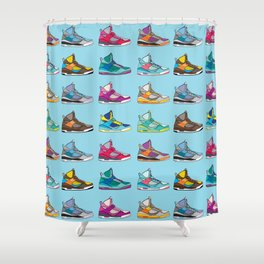 Colorful Sneaker set illustration blue illustration original pop art graphic print Shower Curtain