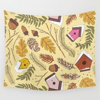 70s Wall Tapestries featuring 70s Woodland by Aron Gelineau