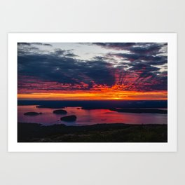 sunrise on cadillac mountain, acadia national park Art Print