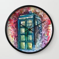 doctor Wall Clocks featuring Doctor Who Tardis by Jessi Adrignola
